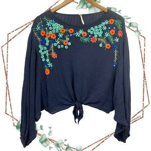 Free People up and away embroidered tie front top